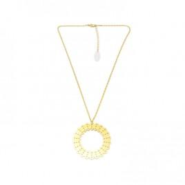Collier mi long pendentif ALMA laiton doré C05