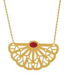 Collier grand pendentif doré Vera