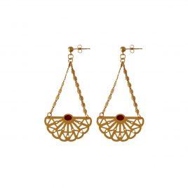 Boucles d'oreilles pendantes dorées Vera